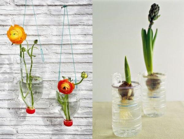 vasi fiori con bottiglie plastica