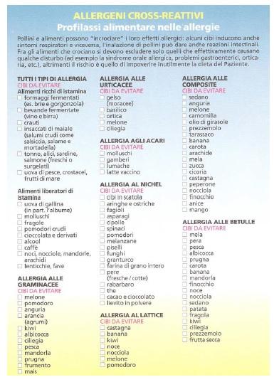 allergia incrociata polline e cibo